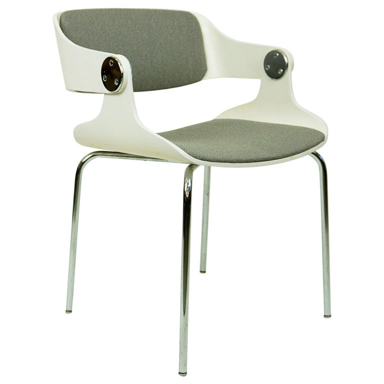 Set of White Space Age Plywood and Grey Fabric Chairs by Eugen Schmidt Germany