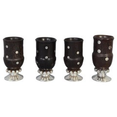 Set of William Spratling Wood and Silver Goblets