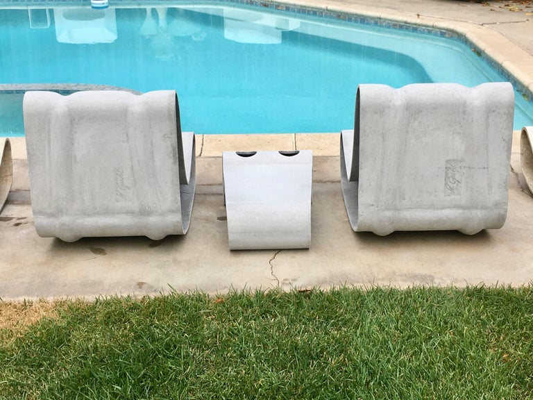 Swiss Set of Willy Guhl Loop Chairs and Matching Table For Sale