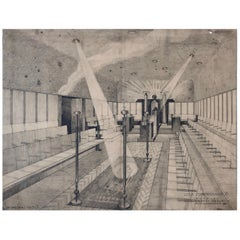 Set of Working Drawings, 1930, for a Free Masons Lodge, Schwind Gasse, Vienna