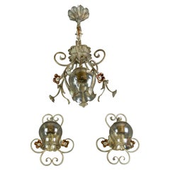 Set of Wrought Iron and Glass One Pendant Light and Two Sconces, Germany, 1960s