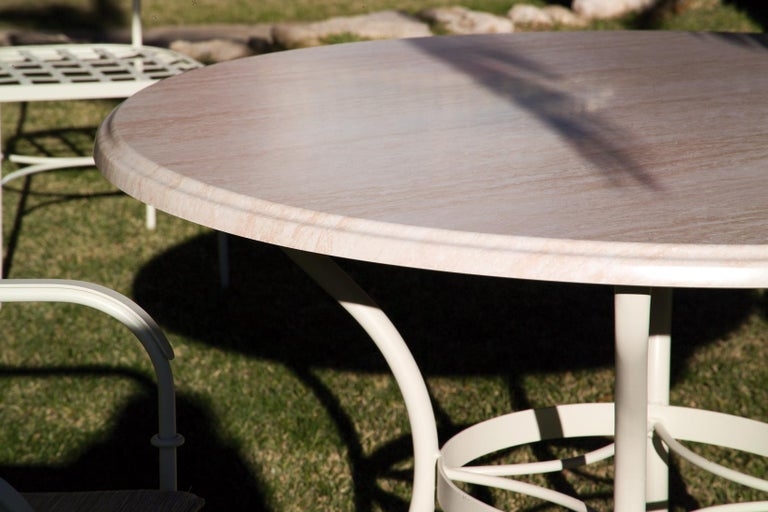 Set Of Wrought Iron Dining Table And Armchairs Garden Or Patio Furniture