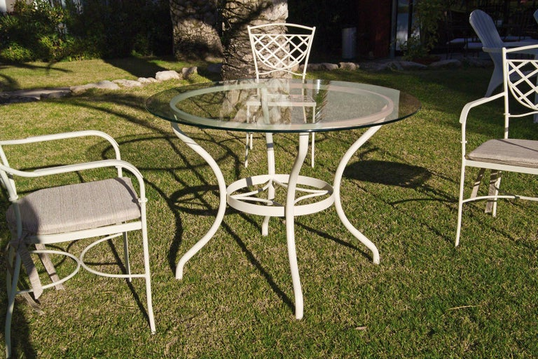 Country Set of Wrought Iron Dining Table and Armchairs, Garden or Patio Furniture For Sale