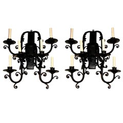 Set of Wrought Iron Sconces, Sold in Pairs