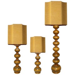 Set of Xl Ceramic Lamps with New Silk Custom Made Lampshades René Houben
