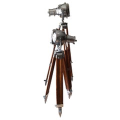 Set of Original Strand Electric Theatre Lamps on Wooden Tripods