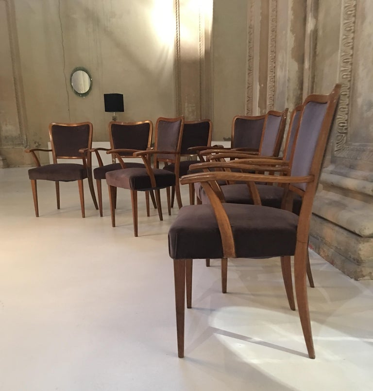 Set of 8 Dining Chairs Attributed to Paolo Buffa For Sale 4