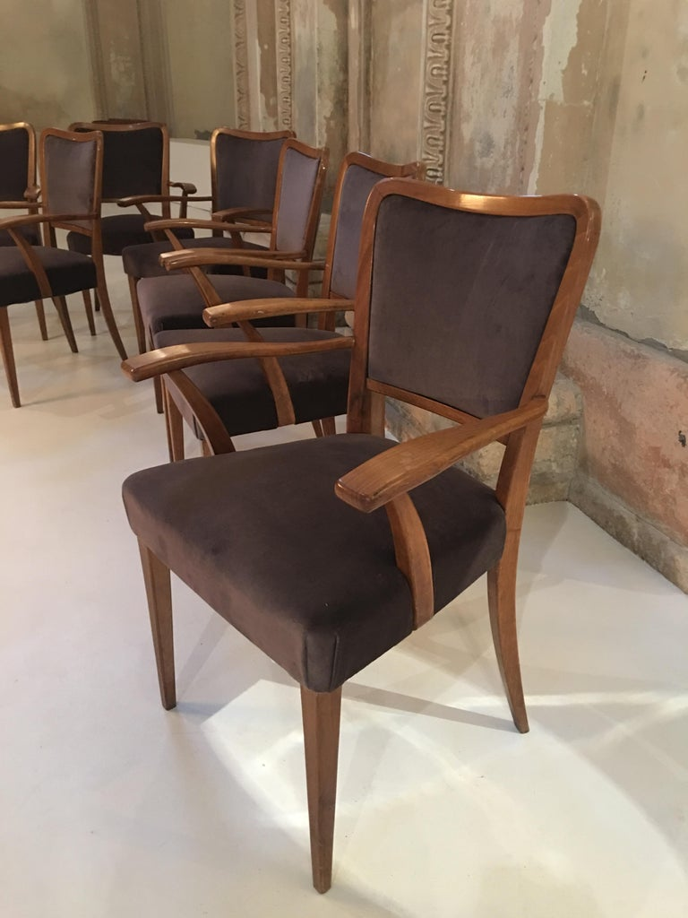 Set of 8 Dining Chairs Attributed to Paolo Buffa For Sale 5