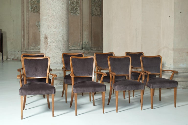 Comfortable chairs attributed to Paolo Buffa. Purple velvet upholstering.