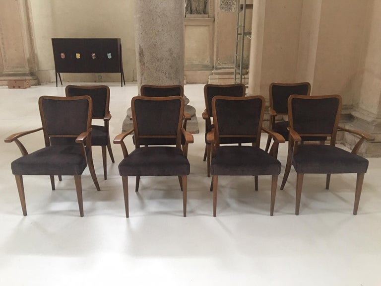 Mid-Century Modern Set of 8 Dining Chairs Attributed to Paolo Buffa For Sale