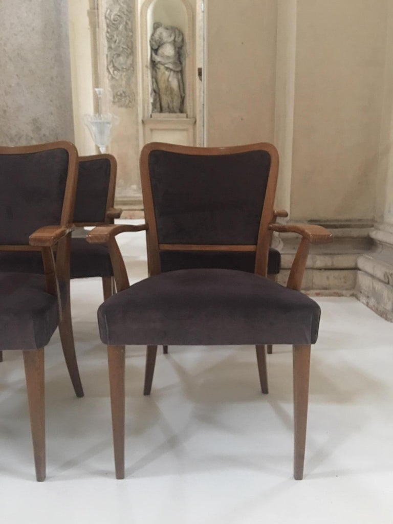 Italian Set of 8 Dining Chairs Attributed to Paolo Buffa For Sale