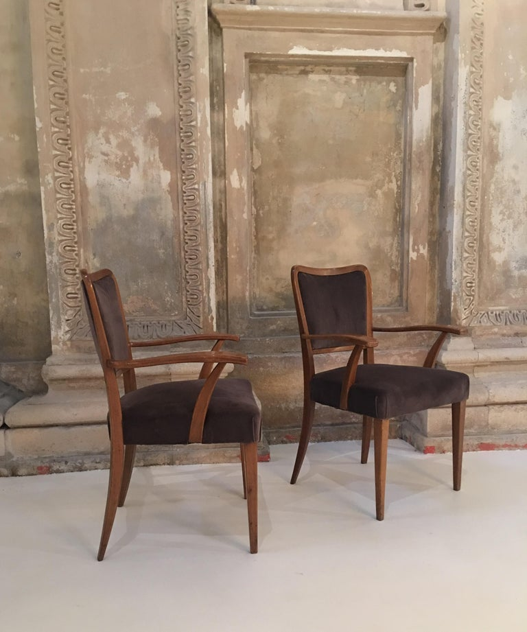 Set of 8 Dining Chairs Attributed to Paolo Buffa In Good Condition For Sale In Carpaneto Piacentino, Italy