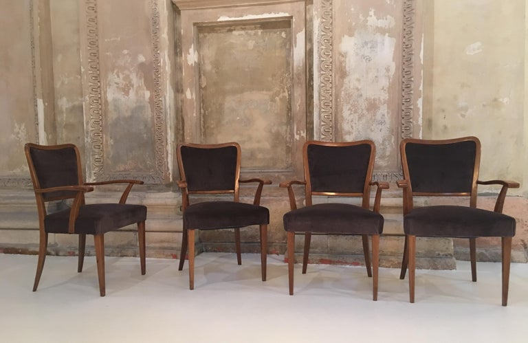 Mid-20th Century Set of 8 Dining Chairs Attributed to Paolo Buffa For Sale