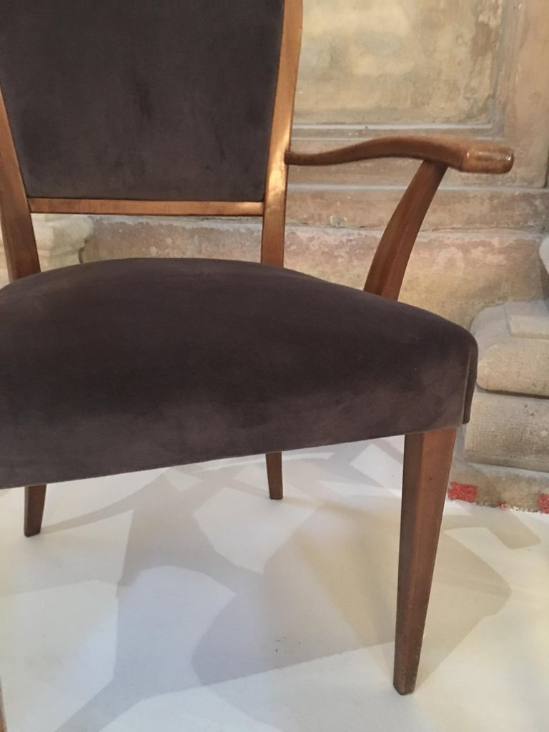 Set of 8 Dining Chairs Attributed to Paolo Buffa For Sale 2