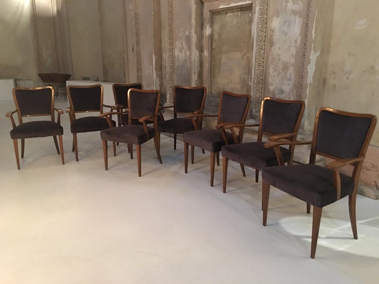 Set of 8 Dining Chairs Attributed to Paolo Buffa For Sale 3
