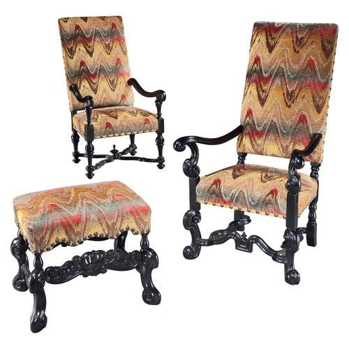 Set, Pair, Armchairs, Armchair, Stool, Ebonised, Baroque, Baroque-Revival