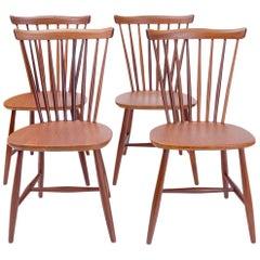 Dutch Vintage Set Pastoe 1960s Peg Chairs in Teak