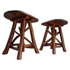 Set Primitive Stools or Side Tables, France, Early 1900s