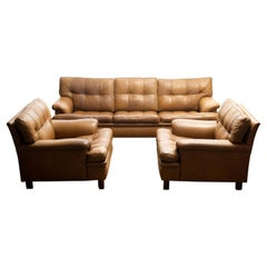 """Set Quilted Camel Buffalo Leather """"Merkur"""" Chairs and Sofa by Arne Norell A.B"""