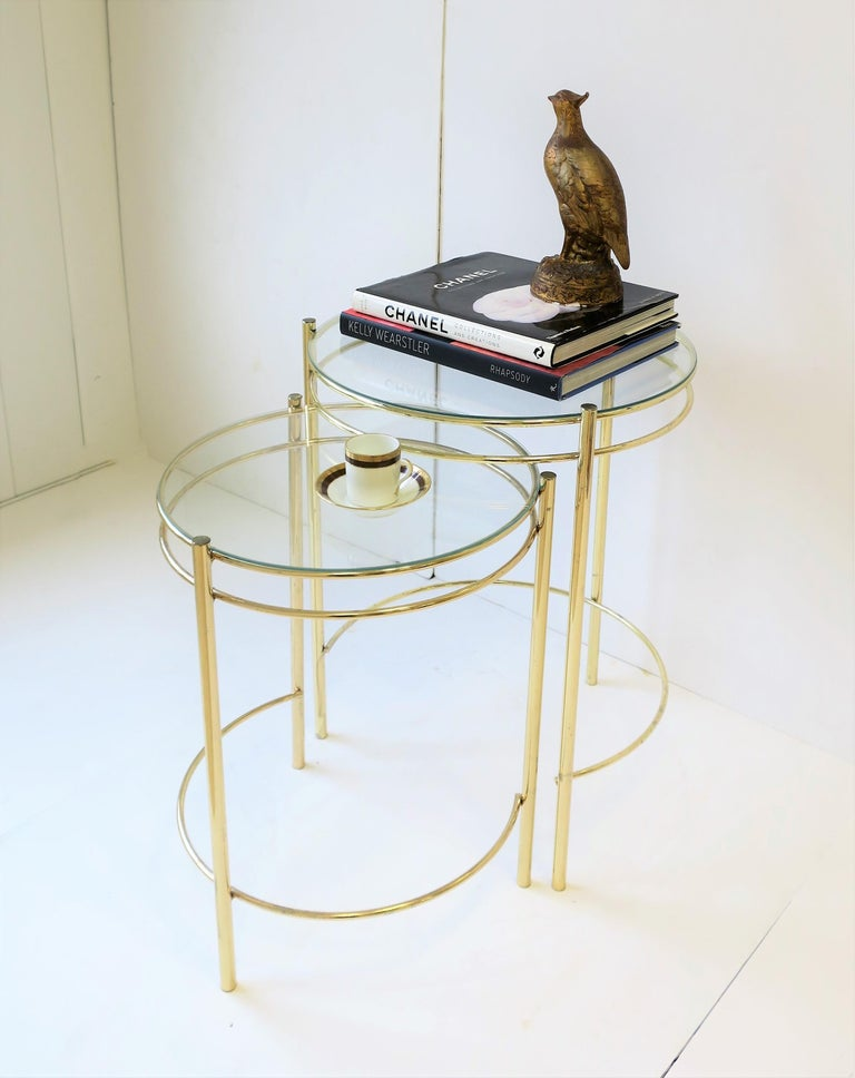 Modern Set Round Brass and Glass Nesting End or Side Tables For Sale