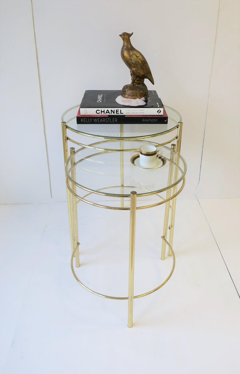 Metal Set Round Brass and Glass Nesting End or Side Tables For Sale