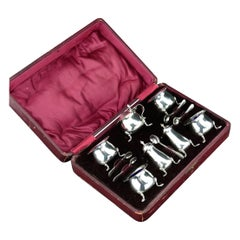 Set Salt and Spice Cellars in original Box 925/- Sterling Silver Birmingham 1900