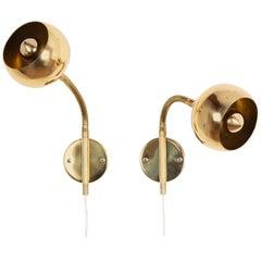 Set Scandinavian Brass Wall lamps
