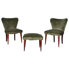 Set Seats and Footstool in Mahogany Wood, Velvet, Brass Dectails, Italy, 1950s