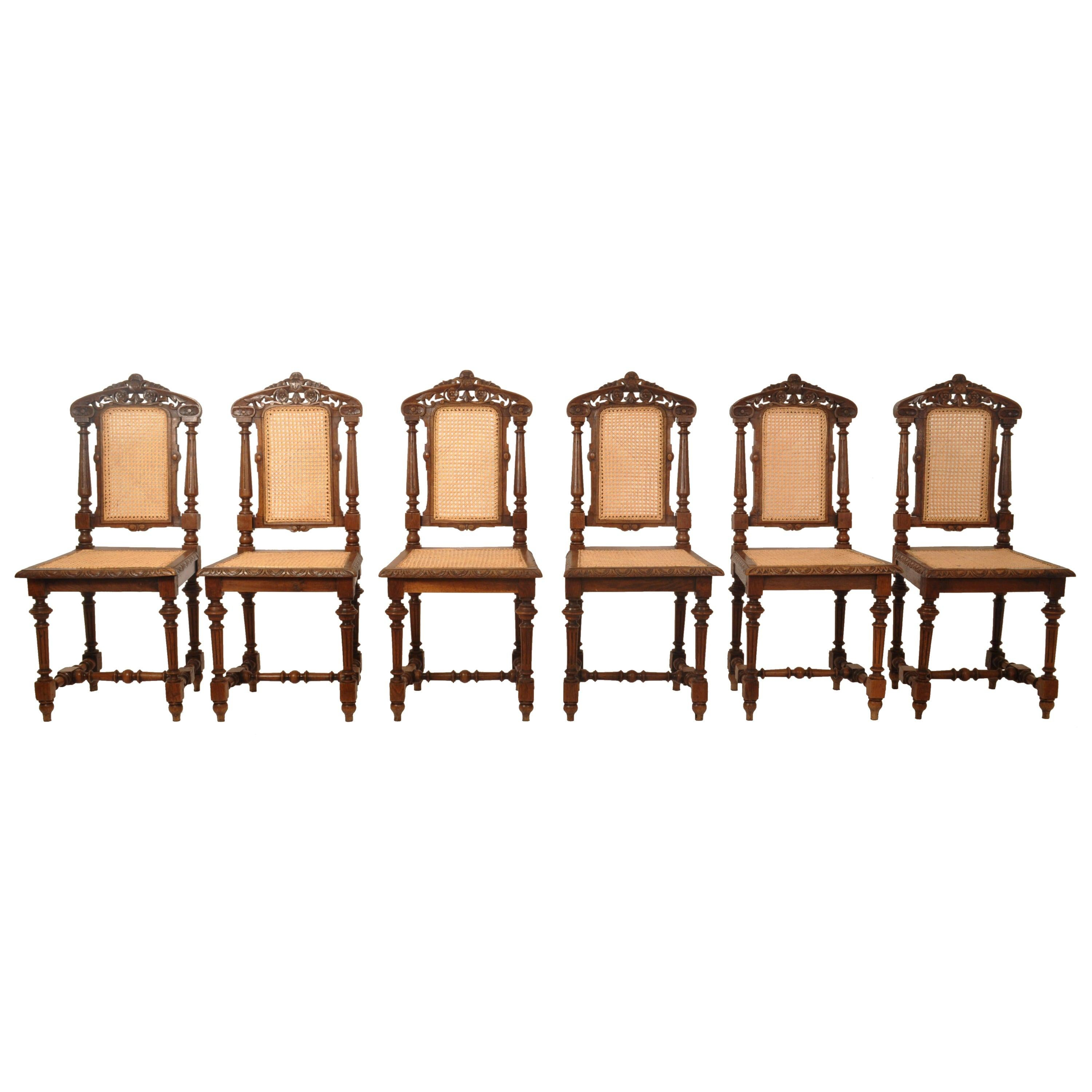 Set Six Antique French Provincial Henri II Carved Oak & Caned Dining Chairs 1880