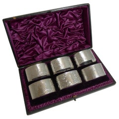 Set Six Cased Antique English Sterling Silver Napkin Rings, Ferns