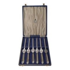 Set Six Cased Silver Plated Lobster / Seafood Picks, Garrard, London