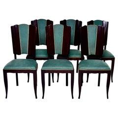 Set Six French Art Deco Mahogany Dining Chairs