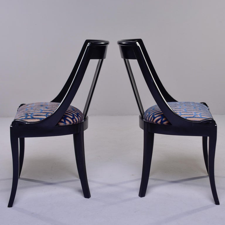 Set Six French Early 20th C Gondola Dining Chairs with New Upholstery In Good Condition For Sale In Troy, MI