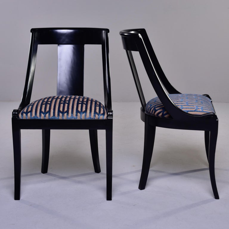 20th Century Set Six French Early 20th C Gondola Dining Chairs with New Upholstery For Sale