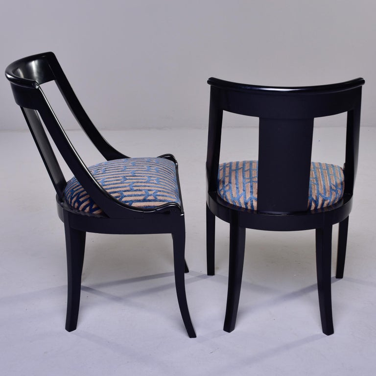 Set Six French Early 20th C Gondola Dining Chairs with New Upholstery For Sale 2