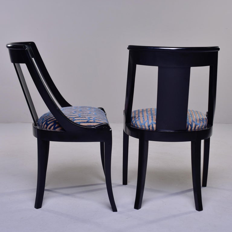 Set Six French Early 20th C Gondola Dining Chairs with New Upholstery For Sale 3