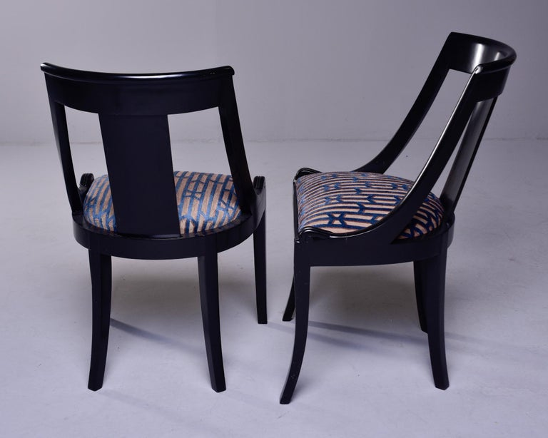 Set Six French Early 20th C Gondola Dining Chairs with New Upholstery For Sale 4