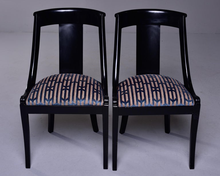 Set Six French Early 20th C Gondola Dining Chairs with New Upholstery For Sale 5