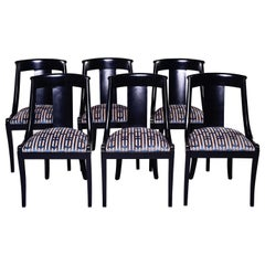 Set Six French Early 20th C Gondola Dining Chairs with New Upholstery