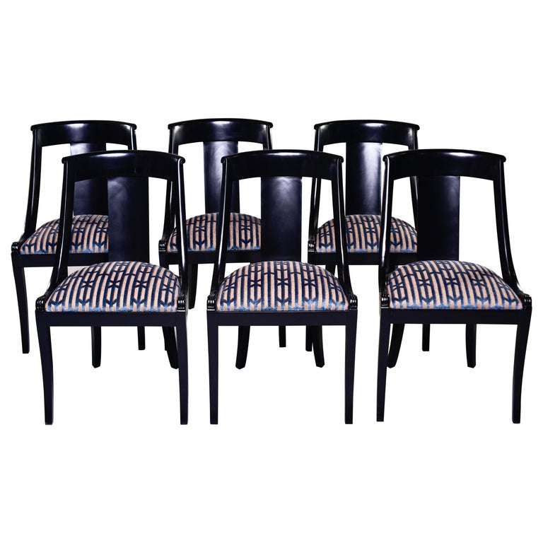 Set Six French Early 20th C Gondola Dining Chairs with New Upholstery For Sale