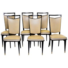 Set Six French Modernist Dining Chairs with Black Lacquered Frames