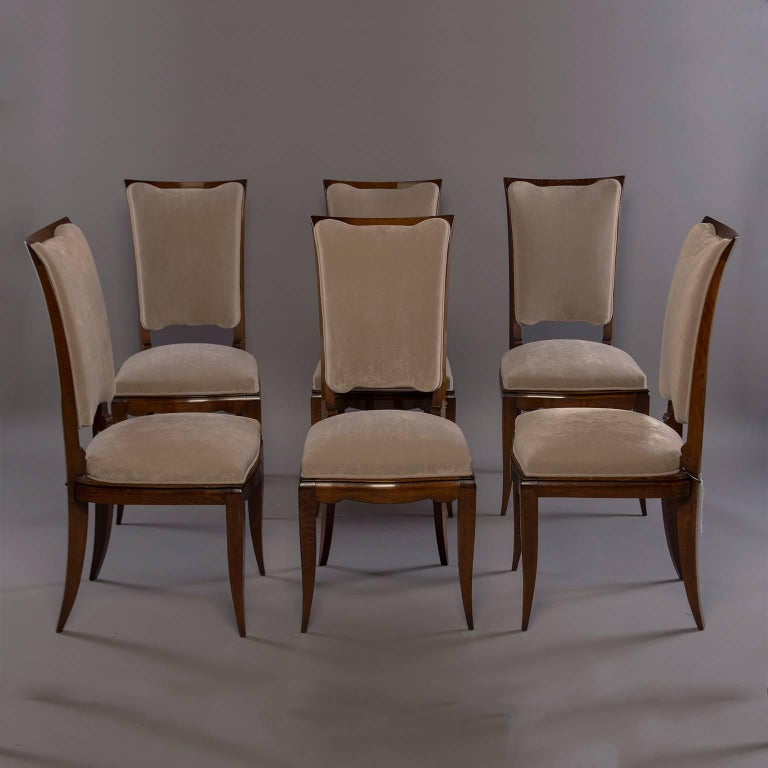 Set of Six Midcentury Italian Polished Walnut Dining Chairs For Sale 6