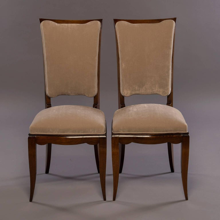 Upholstery Set of Six Midcentury Italian Polished Walnut Dining Chairs For Sale