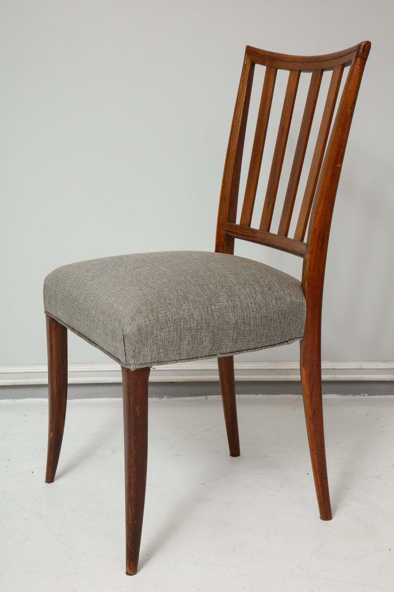 Italian Set Six Mid-century Slat-Back Dining Chairs For Sale