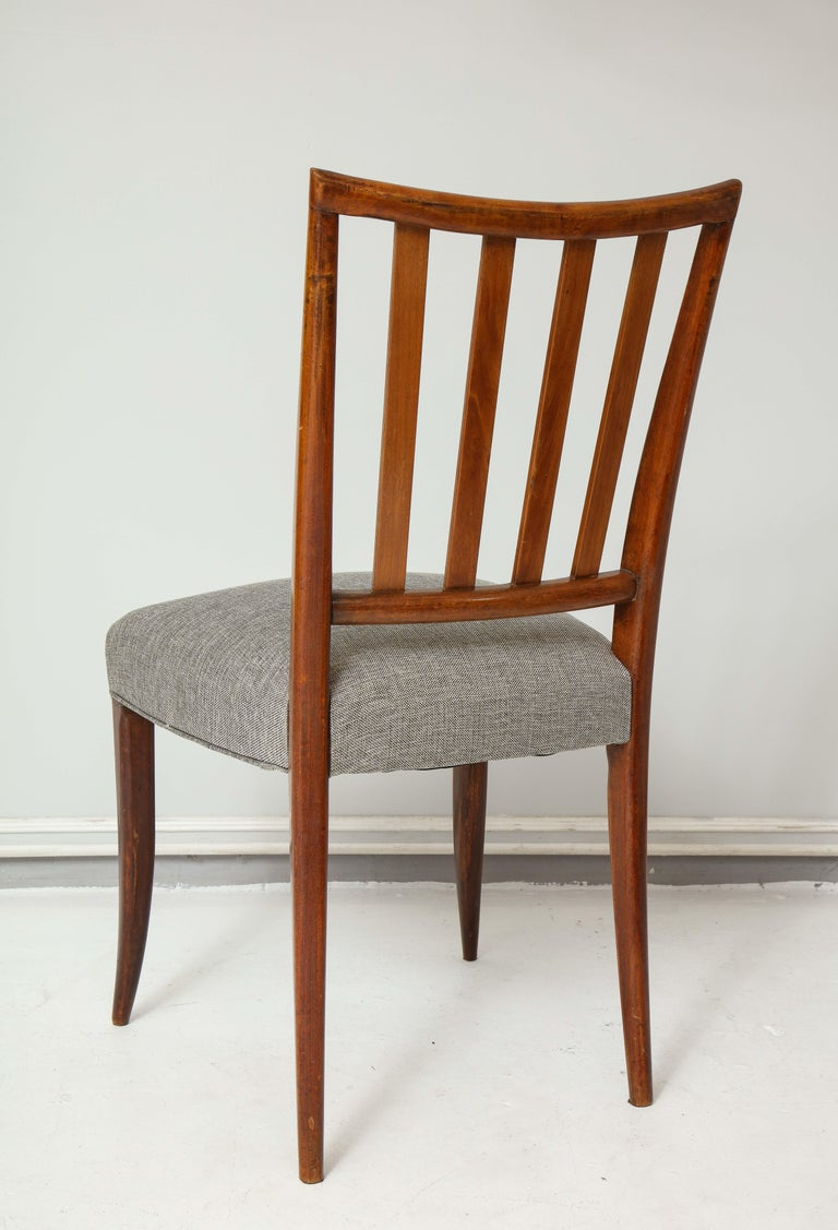 Set Six Mid-century Slat-Back Dining Chairs In Good Condition For Sale In New York, NY