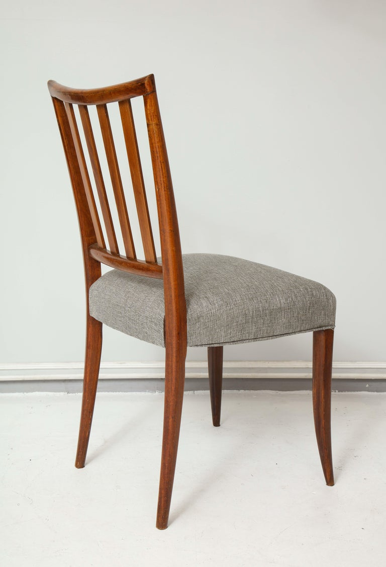 20th Century Set Six Mid-century Slat-Back Dining Chairs For Sale