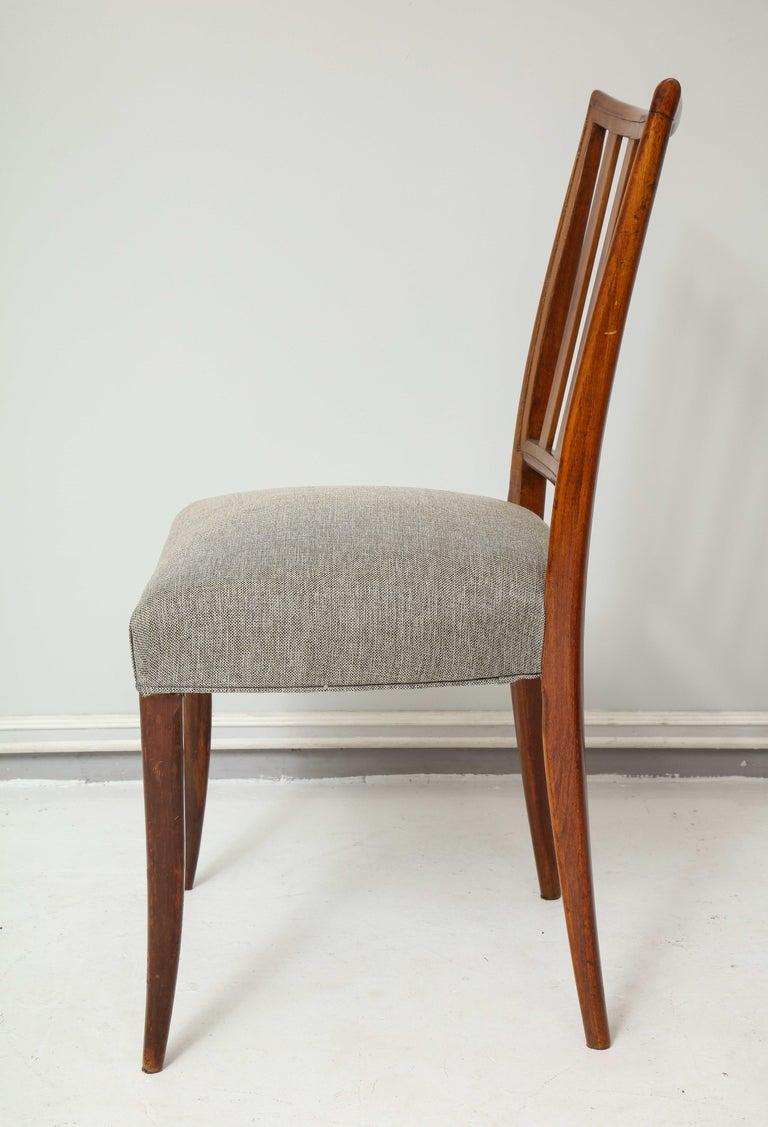 Walnut Set Six Mid-century Slat-Back Dining Chairs For Sale