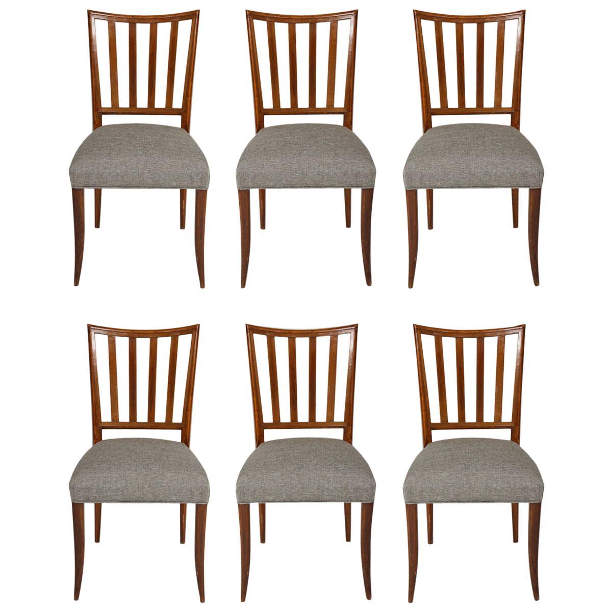 Set Six Mid-Century Slat-Back Dining Chairs