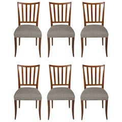 Set Six Mid-Century Slat-Back Dining Chairs