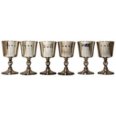Set Six Modern Sterling Silver Wine Goblets London 1973 Mappin & Webb